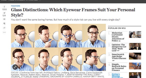 1def836cb7f9 Eyewear for Men  WSJ Article Weighs in on Style Risk - Art and ...
