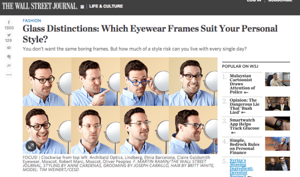 b1ce011df9 Eyewear for Men  WSJ Article Weighs in on Style Risk - Art and ...